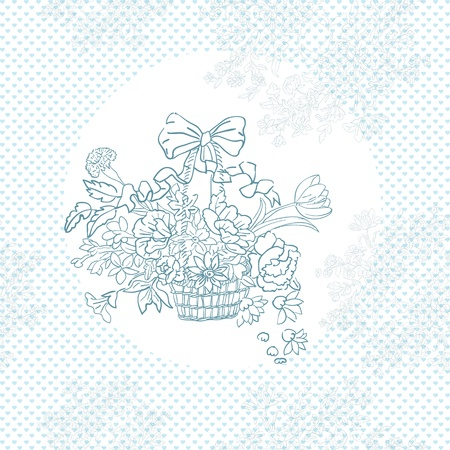 wedding shabby chic basket pattern over blue hearts Vector