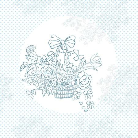 gift basket: wedding shabby chic basket pattern over blue hearts Illustration