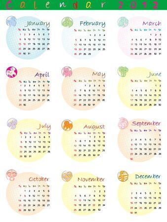 calendar 2012 with zodiac signs and pop art disco dots Vector
