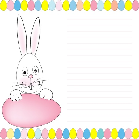 notebook cover: Easter illustration with rabbit and eggs for notebook cover or greetings card
