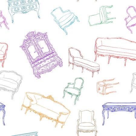 ぼろぼろのシックな壁紙や折り返しを白で隔離されるロココ家具パターン