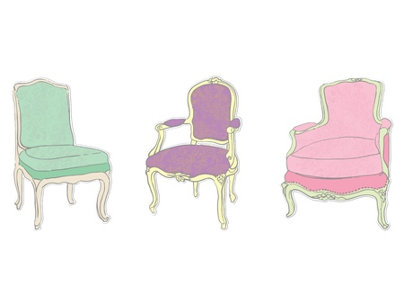 antique rococo chairs and armchair with floral tapestry stickers isolated on white Stock Vector - 12488853
