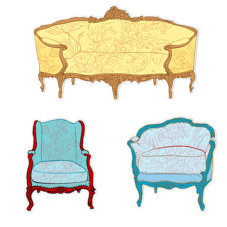 antique rococo sofa, chair and armchair with floral tapestry stickers isolated on white