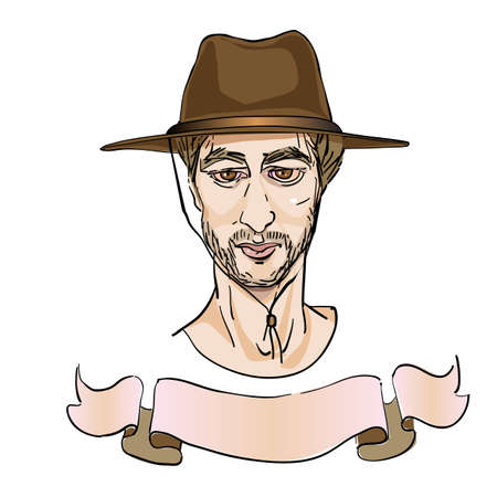 portrait of an elegant man with a cowboy hat, cartoon over white Vector