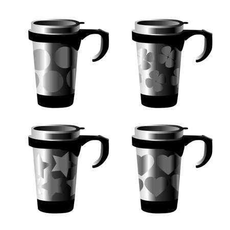 4 decorated metal cup series isolated on white Vector