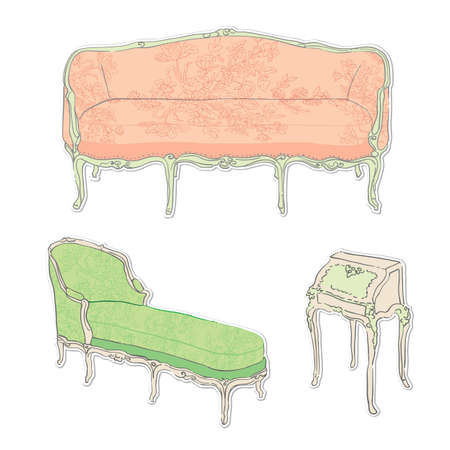 antique rococo sofa and secretaire with floral tapestry stickers isolated on white Vector