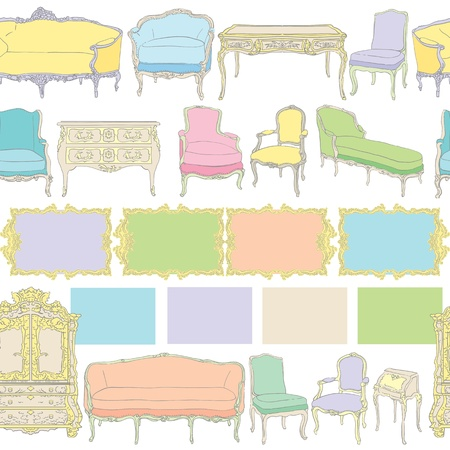 rococo furniture pattern, colored doodles on white Vector
