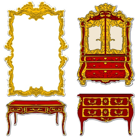 rococo furniture and mirror stickers isolated on white Vector