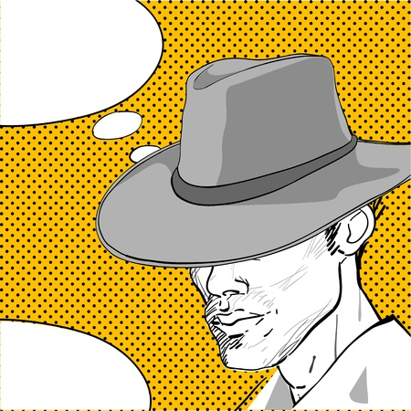 comic style drawing of a man with a retro hat and a speech bubble for your text  Illustration