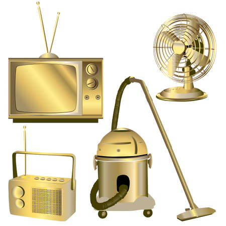 golden retro electric objects isolated on white Vector