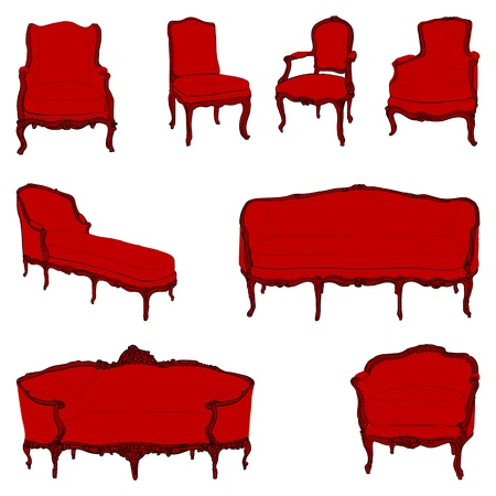 authentic rococo armchairs colored doodles set  isolated on white Vector