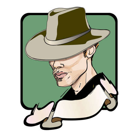 bandits: portrait of an elegant man with an dandy hat, clipart