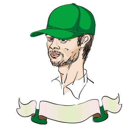 portrait of a man with a cap, doodles over white