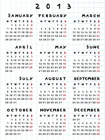 2013 calendar on a math paper, comics text Stock Vector - 12913575