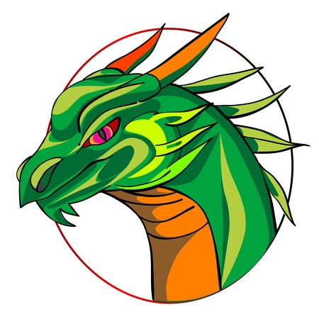 green dragon head, chinese zodiac sign isolated on white Stock Vector - 12913495