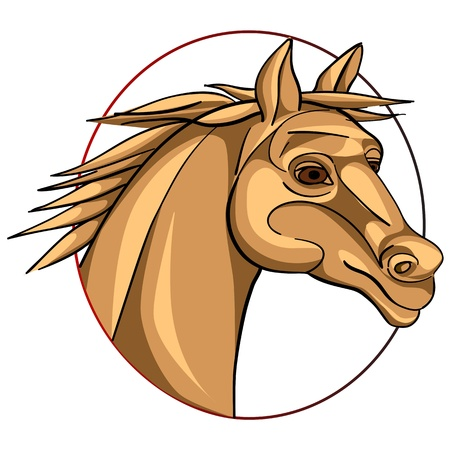 horse head in a circle, chinese zodiac sign isolated on white Stock Vector - 12913494