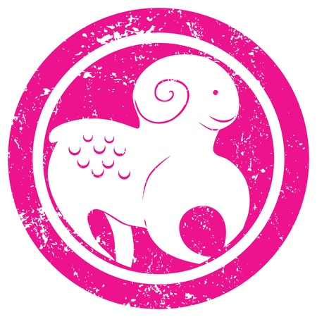 Stylized zodiac sign, The Ram stamp, isolated object over white background Vector