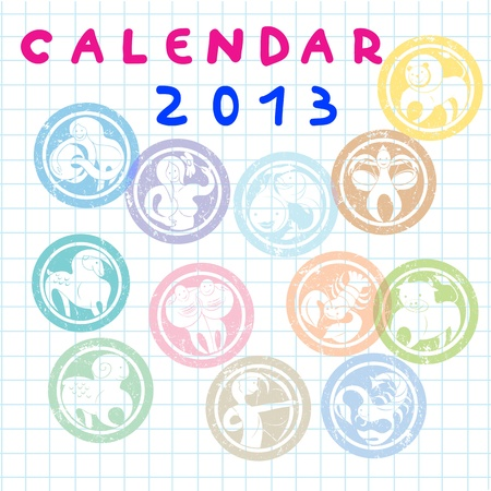 2013 cover for monthly calendar with zodiac signs Vector