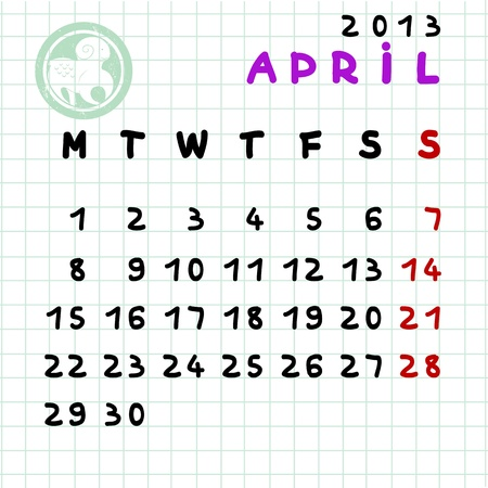 2013 monthly calendar April with Aries zodiac sign stamp Stock Vector - 12913589