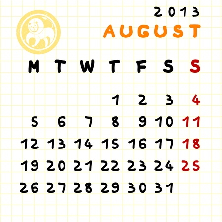 2013 monthly calendar August with Leo zodiac sign stamp Vector