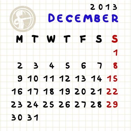 2013 monthly calendar December 2013 with Sagittarius zodiac sign stamp Stock Vector - 12913630