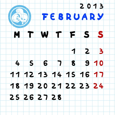 2013 monthly calendar February with Aquarius zodiac sign stamp Stock Vector - 12913586