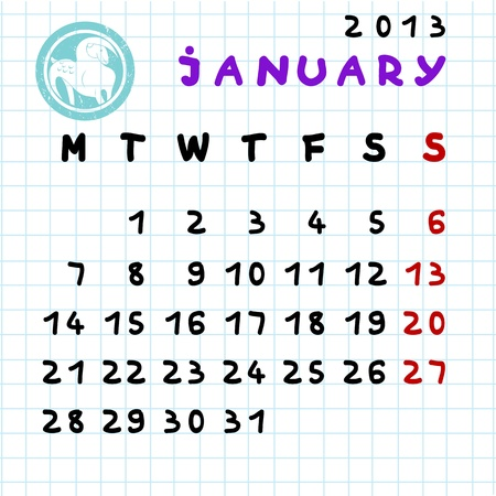 2013 monthly calendar January with Capricorn zodiac sign stamp Stock Vector - 12913580