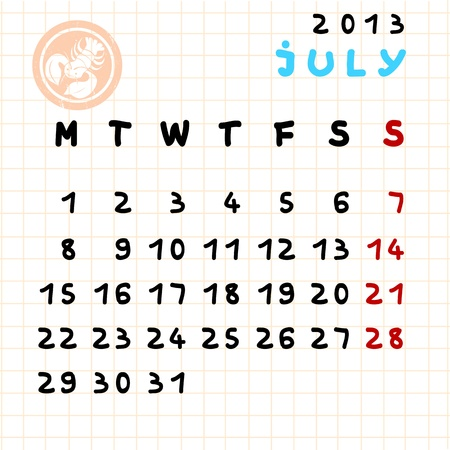 2013 monthly calendar July with Cancer zodiac sign stamp Vector
