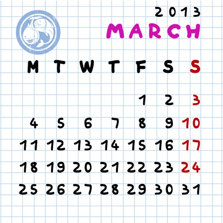 2013 monthly calendar March with Pisces zodiac sign stamp Vector