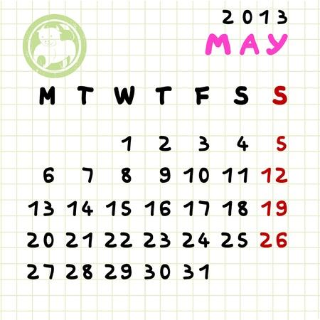 2013 Calendario Mensual de mayo con el signo zodiacal de Tauro acabar Foto de archivo - 12913584