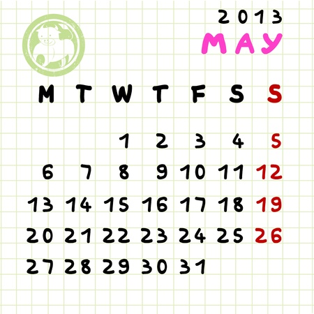 2013 monthly calendar May with Taurus zodiac sign stamp Stock Vector - 12913584