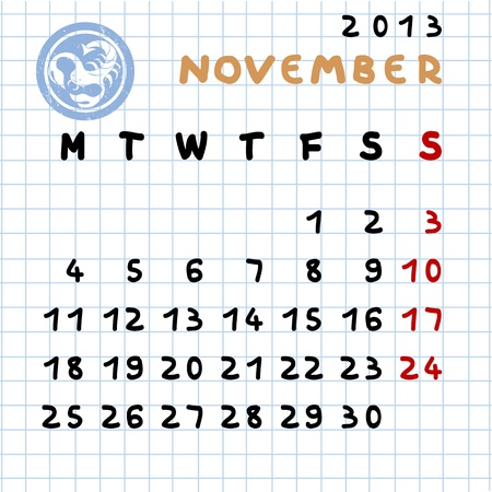 2013 monthly calendar November with Scorpio zodiac sign stamp Stock Vector - 12913611
