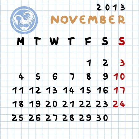 2013 monthly calendar November with Scorpio zodiac sign stamp Stock Vector - 12913611