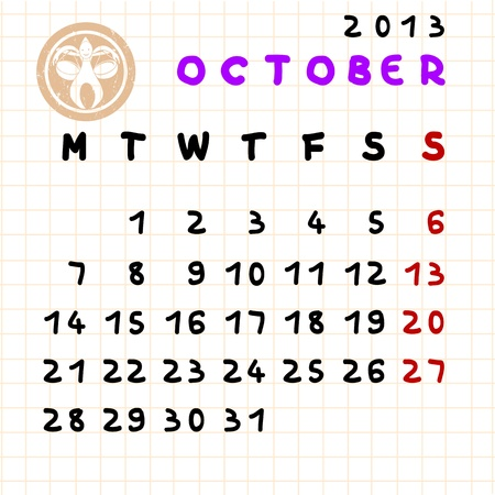 2013 monthly calendar October with Libra zodiac sign stamp Vector