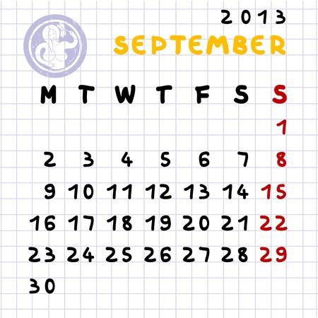 2013 monthly calendar September with Virgo zodiac sign stamp Stock Vector - 12907074