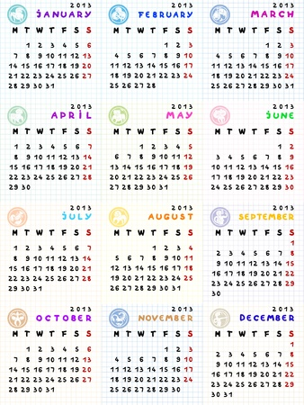 2013 calendar with zodiac signs on a math paper background Stock Vector - 13322886