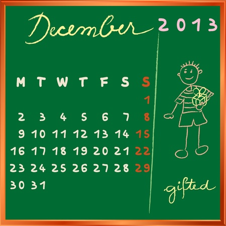gifted: 2013 calendar on a chalkboard, december design with the gifted student profile for international schools
