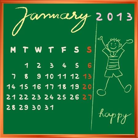 2013 del calendario en una pizarra, el diseño de enero con el perfil de estudiante feliz para las escuelas internacionales Foto de archivo - 13322930