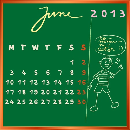 2013 calendar on a chalkboard, june design with the communicator student profile for international schools Vector