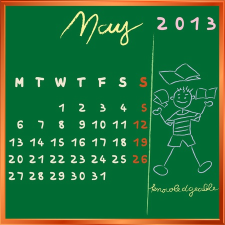 2013 calendar on a chalkboard, may design with the knowledgeable student profile for international schools Vector