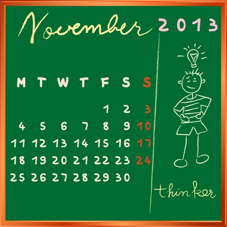 the thinker: 2013 calendar on a chalkboard, november design with the thinker student profile for international schools