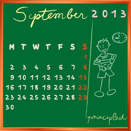 principled: 2013 calendar on a chalkboard, september design with the principled student profile for international schools