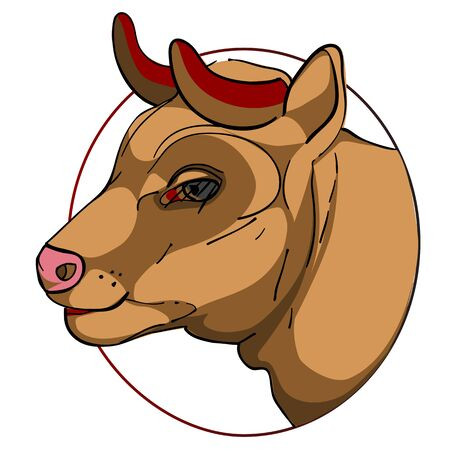 bovine head in a circle, chinese zodiac sign isolated on white Vector