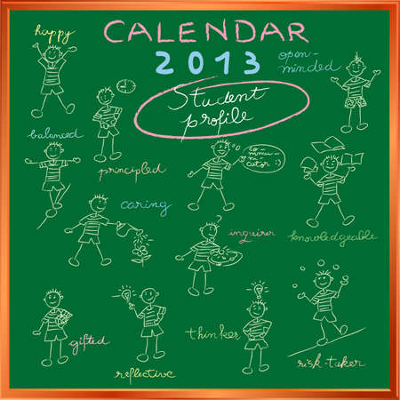 2012 calendar on a chalkboard with the student profile for international schools, cover design Vector