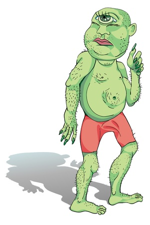 hand drawn cyclop ogre, green character with pink shorts isolated on white Vector