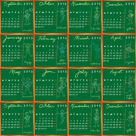 2013 y 2012 del calendario Septiembre Octubre Noviembre Diciembre calendario, dibujado a mano diseño de perfil de los estudiantes de las escuelas internacionales Foto de archivo - 13322929