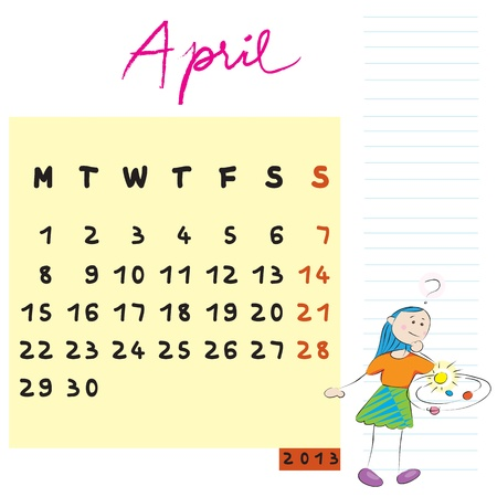 2013 april, calendar design with the inquirer student profile for international schools Vector