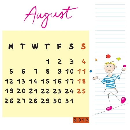august 2013, calendar design with the risk-taker student profile for international schools Vector