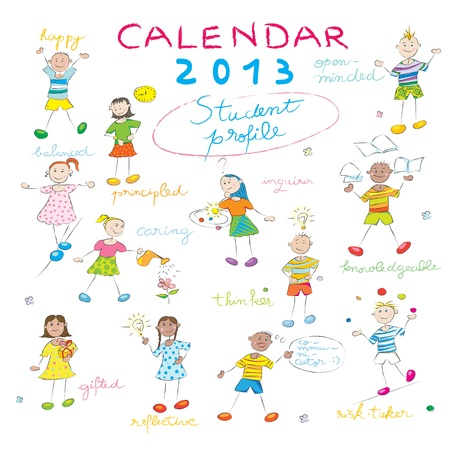 2013 calendar on a whiteboard with the student profile for international schools, cover design Illustration