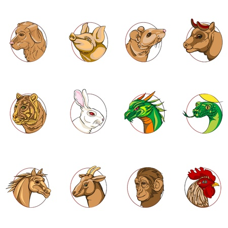 12 animals portraits, chinese zodiac signs collection isolated on white Vector